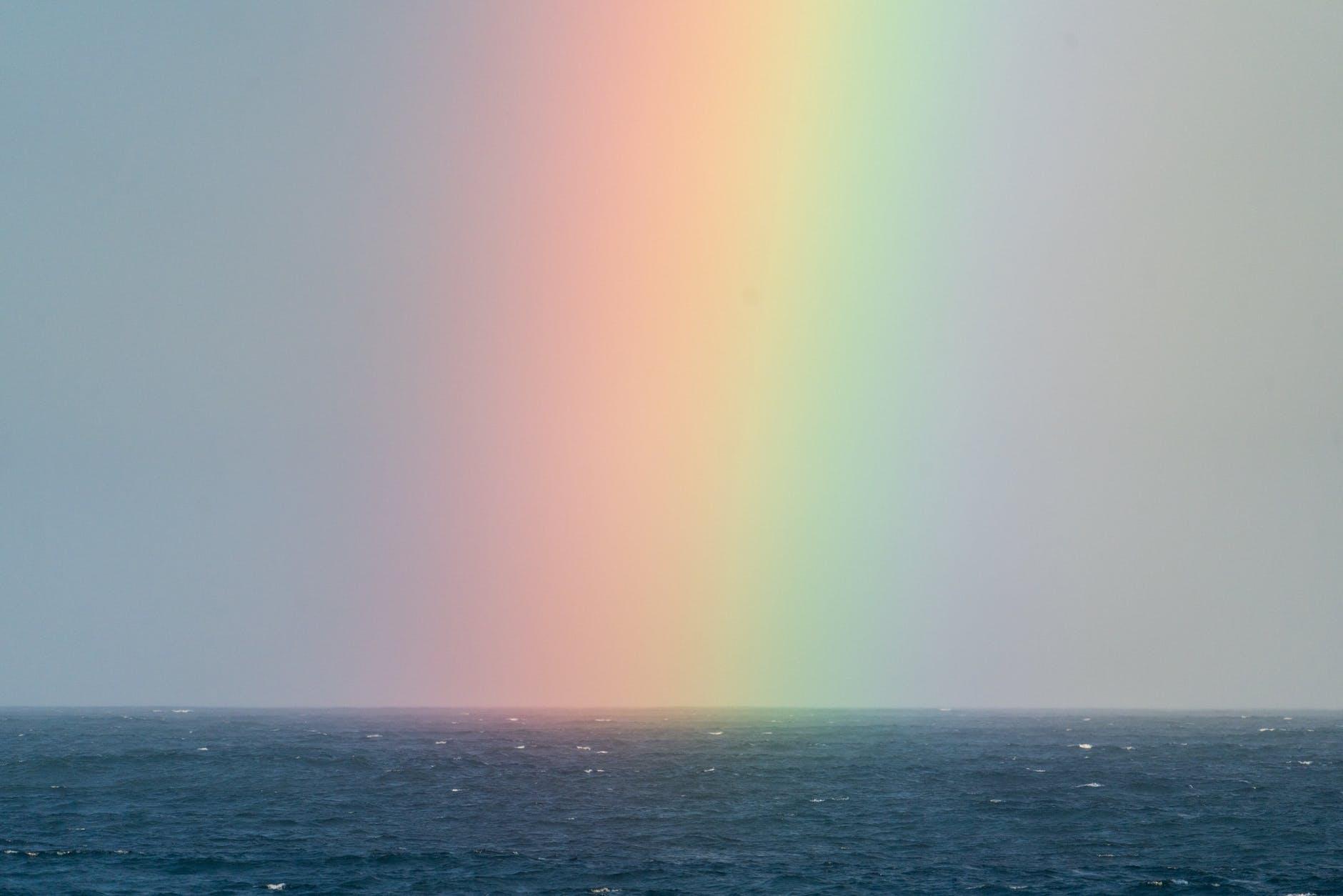 rainbow on sky over sea